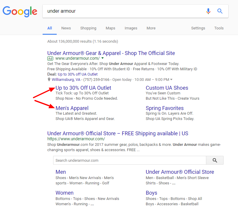 Google Adwords with Normal Sitelinks